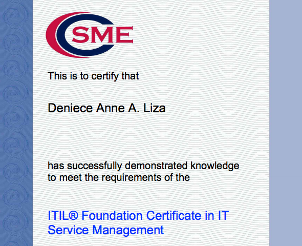 2012 Gratitude/Accomplishment List: ITIL V3 Foundations Certified ...