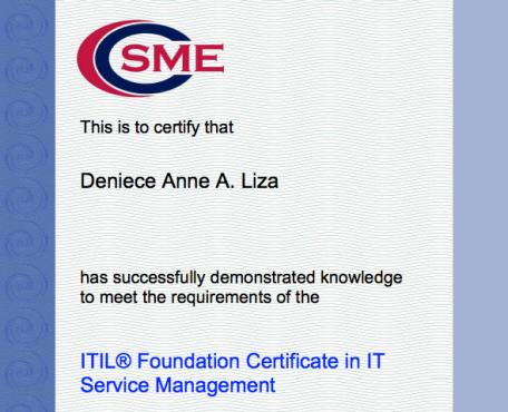 2012 Gratitude/Accomplishment List: ITIL V3 Foundations Certified ...